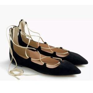 J. Crew Lace Up Suede Ballet Flats